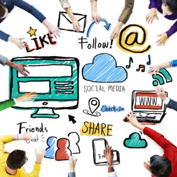 Multiethnic People Discussion Meeting Social Media Concept